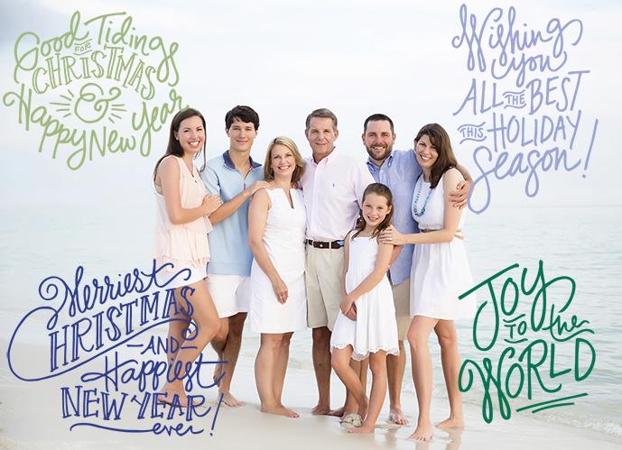 Family vacation photo on the beach